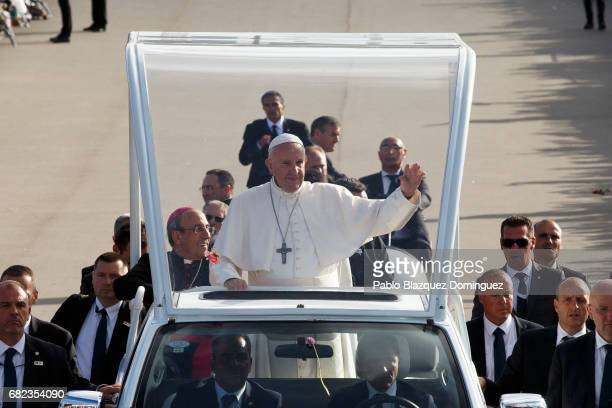 Pope Francis arrives to the Sanctuary of Fatima on May 12 2017 in Fatima Portugal Pope Francis will be attending the Sanctuary of Fatima in Portugal...
