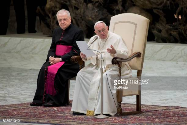 Pope Francis as he leads his Wednesday General Audience in Nervi Hall at the Vatican 27 December 2017