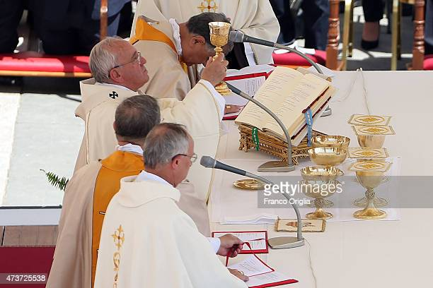 Pope Francis attends a canonisation ceremony in St Peter's Square on May 17 2015 in Vatican City Vatican Pope Francis canonized four women religious...