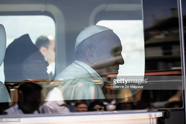 Pope Francis attends a ceremony at Mytilene port during a visit to Lesbos Island amid the refugees crisis on April 16 2016 in Mytilene Greece