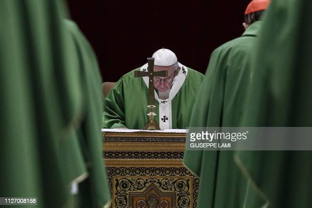 Pope Francis attends a Eucharistic celebration at the Regia Hall of the Apostolic Palace in the Vatican on February 24 within the fourth and last day...