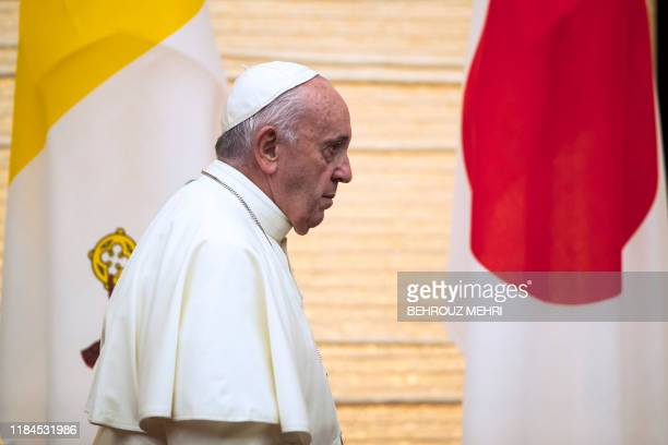 Pope Francis attends a meeting with the diplomatic community at the Japanese prime minister's office in Tokyo on November 25 2019 Pope Francis called...