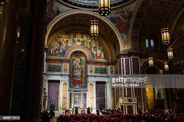 Pope Francis attends a midday prayer with US bishops at the Cathedral of St. Matthew the Apostle in Washington, DC, on September 23, 2015 on the...