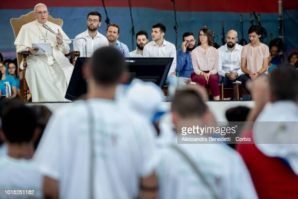 Pope Francis attends a prayer vigil with Italian young people, at Circus Maximus, on August 11, 2018 in Rome, Italy. Several thousands people...