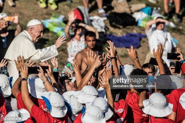 Pope Francis attends a prayer vigil with Italian young people at Circus Maximus on August 11 2018 in Rome Italy Several thousands people converged in...