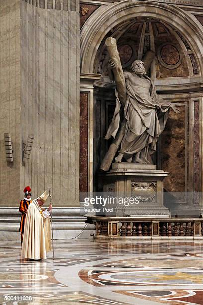 Pope Francis attends a private ceremony for the opening of the Holy Door of St Peter's Basilica on December 8 2015 in Vatican City Vatican During the...
