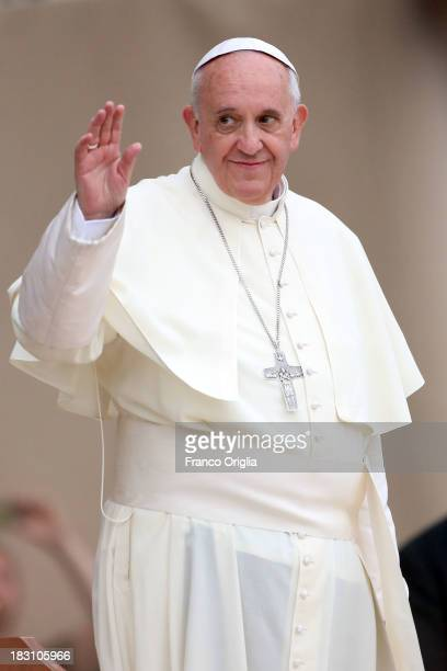 Pope Francis attends a the meeting with the youth at Santa Maria Degli Angeli Basilica during his visit to Assisi on October 4 2013 in Assisi Italy...