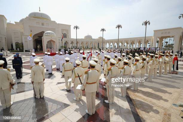 Pope Francis attends a welcome ceremony at Presidential Palace on February 4, 2019 in Abu Dhabi, United Arab Emirates. Pope Francis visits the UAE...