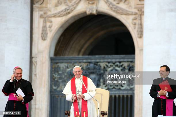Pope Francis attends an audience to the altar servers gathered in St Peter's on July 31 2018 in Vatican City Vatican Over 70000 altar servers between...