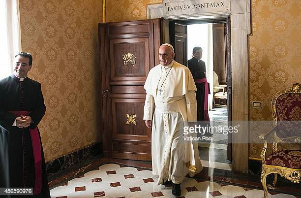 Pope Francis attends an audience with president of Sri Lanka Mahinda Rajapaksa at the Apostolic Palace on October 3 2014 in Vatican City Vatican...