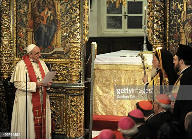 Pope Francis attends an Ecumenical Prayer in the Patriarchal Church of Saint George in Istanbul November 29 2014 Pope Francis arrived in Turkey on...