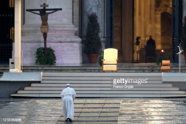 Pope Francis attends an extraordinary moment of prayer in time of pandemic, the adoration of the Blessed Sacrament and delivers an extraordinary...