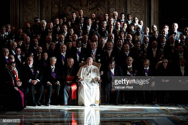 Pope Francis attends his annual 'state of the world' message to accredited ambassadors to the Holy See at the Regia Hall on January 11 2016 in...