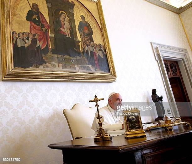 Pope Francis attends his morning private audience at his private library in the Apostolic Palace on December 17 2016 in Vatican City Vatican Pope...