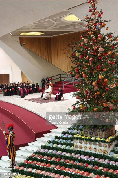Pope Francis attends his weekly audience at the Paul VI Hall on December 6 2017 in Vatican City Vatican Pope Francis has appealed for respect for...