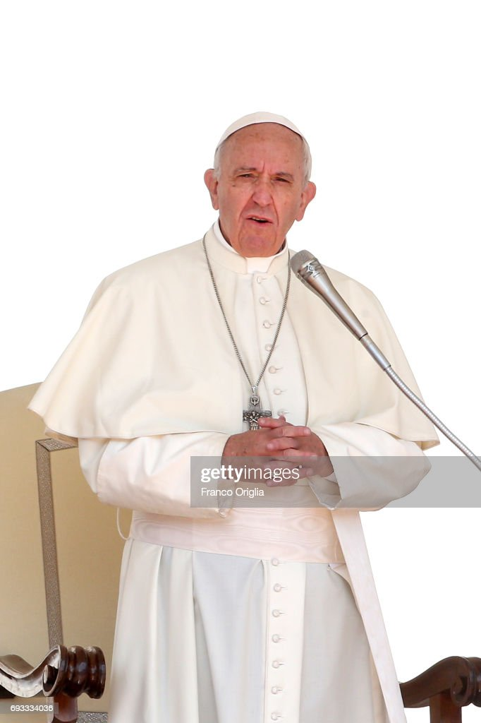 Pope Francis attends his weekly audience in St. Peter's square on June 7, 2017 in Vatican City, Vatican. During the Mass for the Solemnity of Pentecost on Sunday, Pope Francis offered prayers for the victims of the Saturday evening terror attacks in London, as well as for the families of the victims.