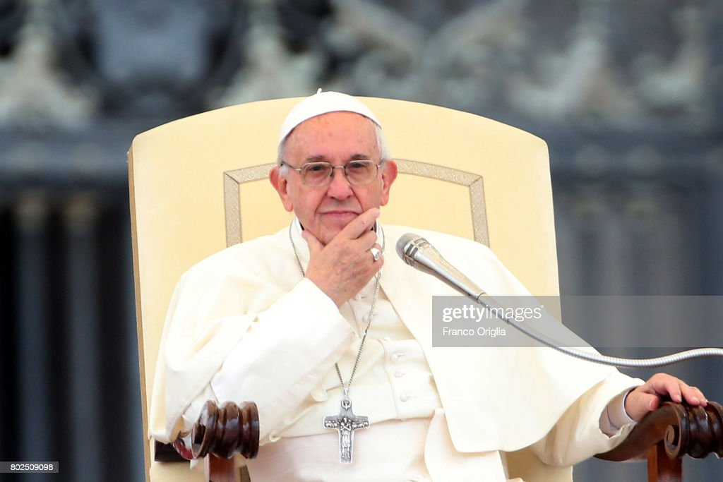 Pope Francis attends his weekly audience in St, Peter's square on June 28, 2017 in Vatican City, Vatican. This afternoon Pope Francis will appoint five new Cardinals during a Consistory.