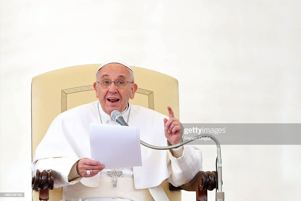 Pope Francis attends his weekly audience in St. Peter's Square on March 4, 2015 in Vatican City, Vatican. Speaking to the crowds gathered in St Peter's Square for the weekly General Audience the Pope continued in his series of teachings on the family, focusing this time on the role of grandparents.