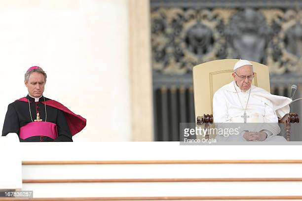 Pope Francis attends his Weekly Audience in St Peter's Square on May 1 2013 in Vatican City Vatican Marking the feast of St Joseph the Worker and...