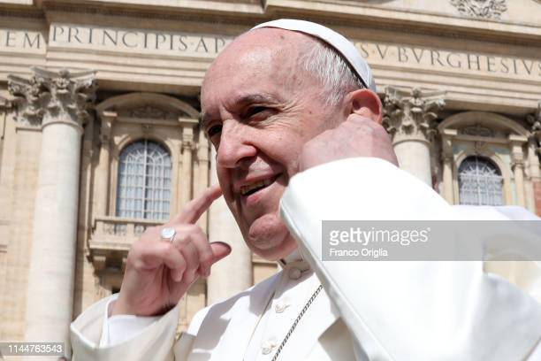 Pope Francis attends his weekly general audience in St Peter's Square on April 24 2019 in Vatican City Vatican