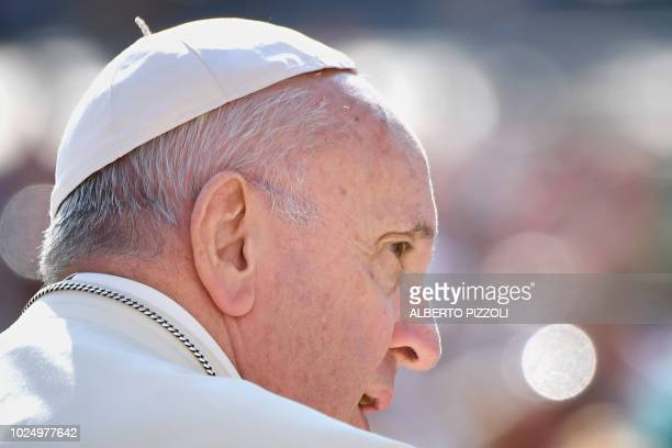 Pope Francis attends his weekly general audience on St Peter's square on August 29 2018 at the Vatican