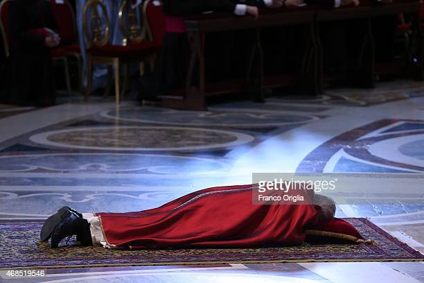 Pope Francis attends the Celebration of the Lord's Passion at St Peter's Basilica on April 3 2015 in Vatican City Vatican Later today the Holy Father...