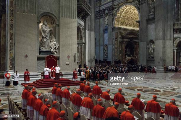S BASILICA VATICAN CITY VATICAN Pope Francis attends the Celebration of the Lord's Passion on Good Friday in St Peter's Basilica Christians around...