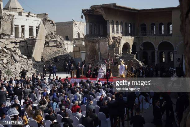 Pope Francis attends the ceremony at Church Square of Hosh al-Bieaa in Mosul, Iraq on March 7, 2021.