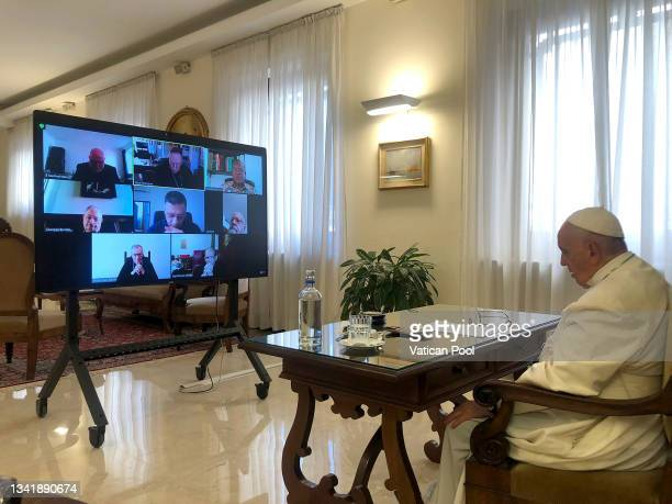 Pope Francis attends the Council of Cardinals from his residence Casa Santa Marta on September 21, 2021 in Vatican City, Vatican. Pope Francis joined...