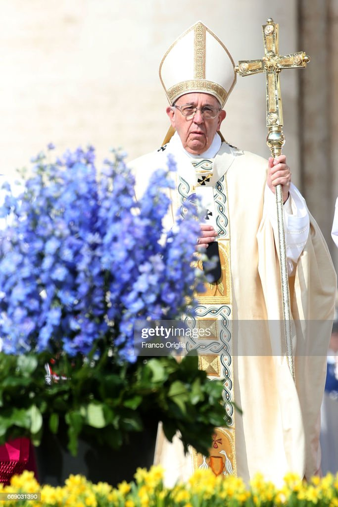 Pope Francis attends the Easter Mass at St. Peter's Square on April 16, 2017 in Vatican City, Vatican. At the end of the celebration Pope Francis delivers his traditional 'Urbi et Orbi' Blessing - to the City of Rome and to the World - from the central balcony overlooking St. Peter's Square. The pontiff is due to visit Cairo on April 28th and 29th after being invited by Coptic Orthodox Pope Tawadros II.