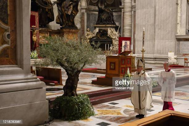 Pope Francis attends the Easter vigil mass in an empty St Peter's Square due coronavirus pandemic on April 11 2020 in Vatican City Vatican Pope...