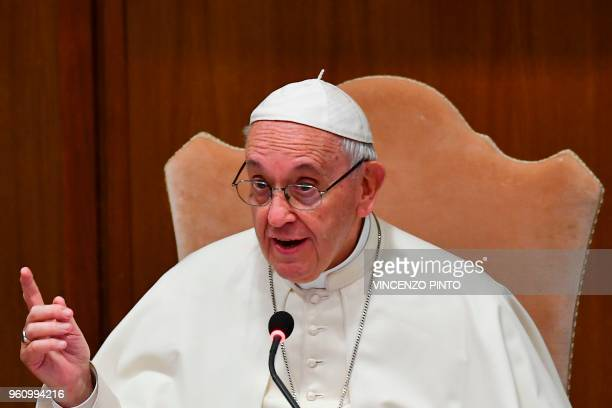 Pope Francis attends the general assembly of the Italian Bishops Conference on May 21 2018 in Vatican