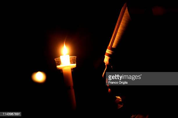 Pope Francis attends the Liturgy of the Light during the he Easter Vigil Mass at St Peter's Basilica on April 20 2019 in Rome Italy