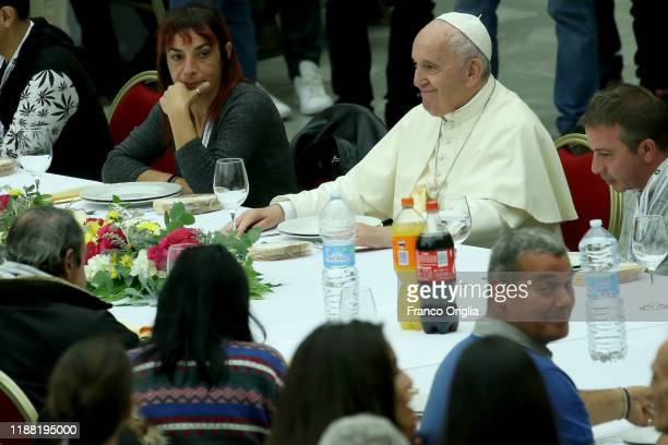 Pope Francis attends the lunch during the World Day Of The Poor at the Paul VI Hall on November 17, 2019 in Vatican City, Vatican. Marking the 3rd...