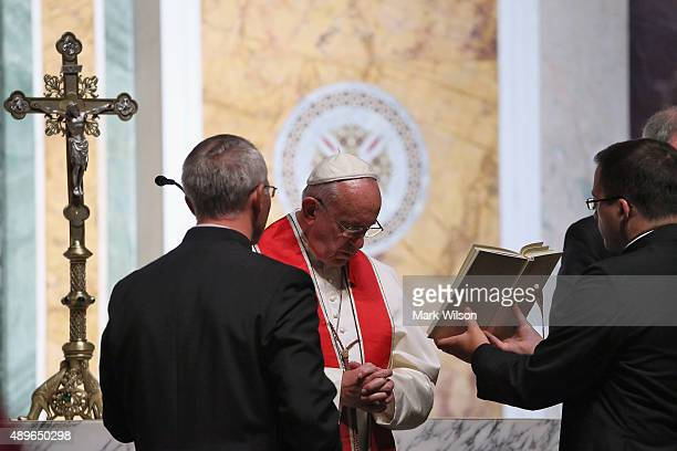 Pope Francis attends the Midday Prayer Service at the Cathedral of St Matthew on September 23 2015 in Washington DC The Pope began his first trip to...