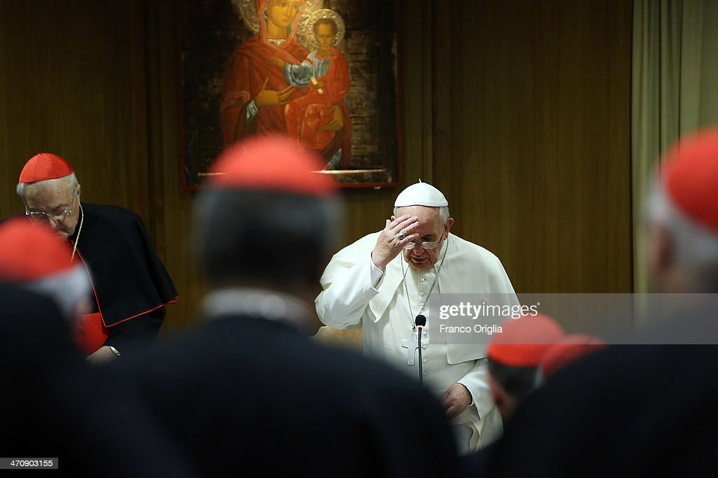 Pope Francis attends the morning session of Extraordinary Consistory on the themes of Family at the Synod Hall on February 21, 2014 in Vatican City, Vatican. Pope Francis will create 19 new cardinals during his first consistory on February 22.