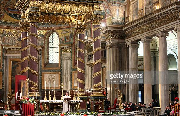 Pope Francis attends the recitation of the Rosary at Basilica di Santa Maria Maggiore on May 4 2013 in Rome Italy This is Pope Francis' second visit...