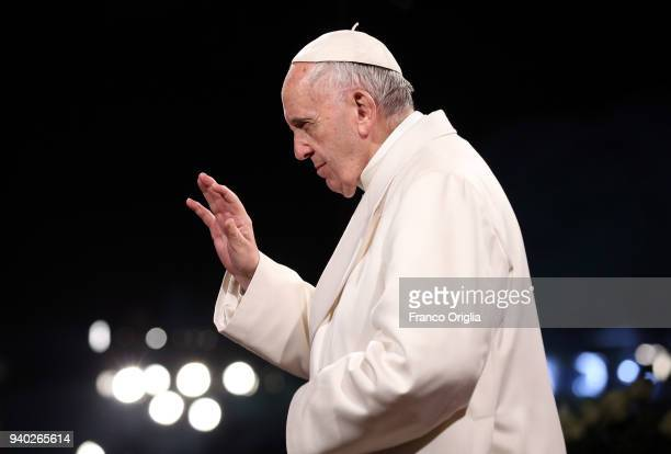 Pope Francis attends the Stations of the Cross at the Colosseum on March 30 2018 in Rome Italy