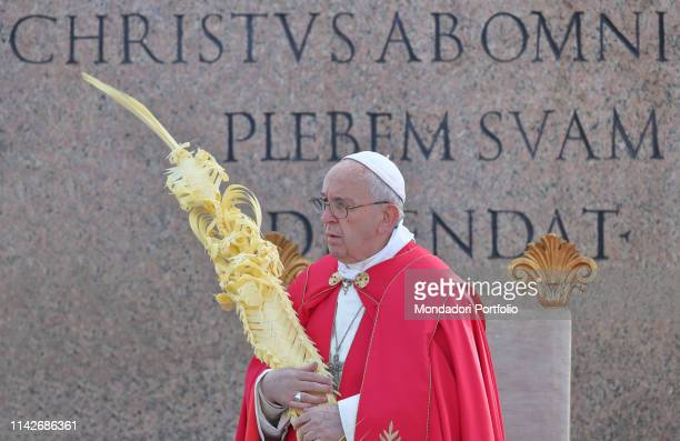 Pope Francis blesses palm and olive branches with holy water in occasion of Palm Sunday and the Passion of the Lord at Saint Peter's Square Vatican...