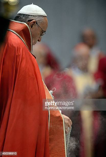 Pope Francis blesses the coffin during the funeral ceremony for late Indian Cardinal D Simon Lourdusamy in Saint Peter's Basilica at the Vatican on...