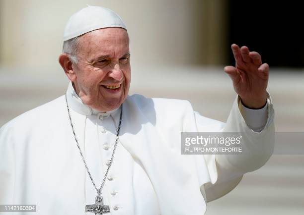 Pope Francis blesses worshipers at the end of the weekly general audience on May 8, 2019 at St. Peter's square in the Vatican.
