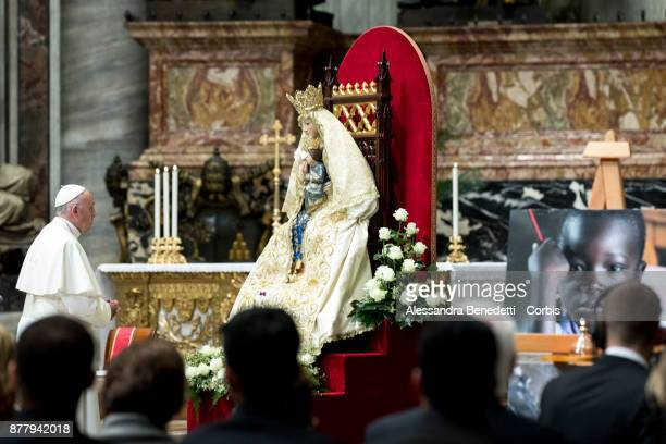 Pope Francis calls for peace in South Sudan and the Democratic Republic of Congo during a vigil prayer in St Peter's Basilica on November 23 2017 in...