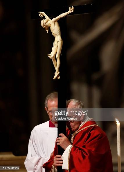 Pope Francis Carries A Cross During The Celebration Of The