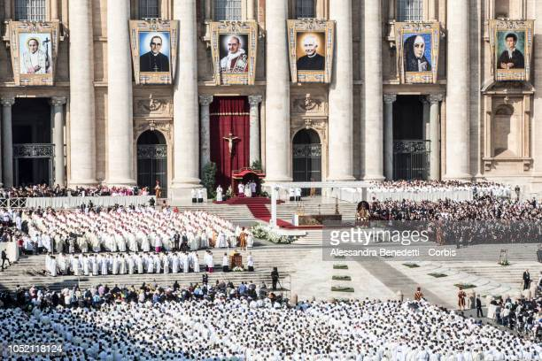 Pope Francis celebrate a mass on the occasion of the canonisation of seven new Saints including Pope Paul VI and Archbishop Oscar Romero at Vatican...