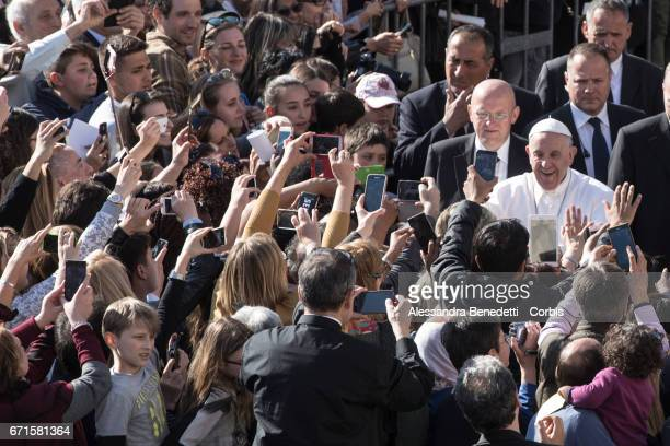Pope Francis celebrates a Liturgy of the Word in memory of the martyrs of the 20th and 21st centuries at Rome's Basilica of St Bartholomew on April...