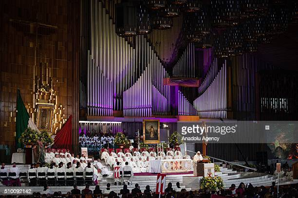 Pope Francis celebrates a mass at the Basilica de Guadalupe in Mexico City during his Pastoral Visit to Mexico on February 13 2016