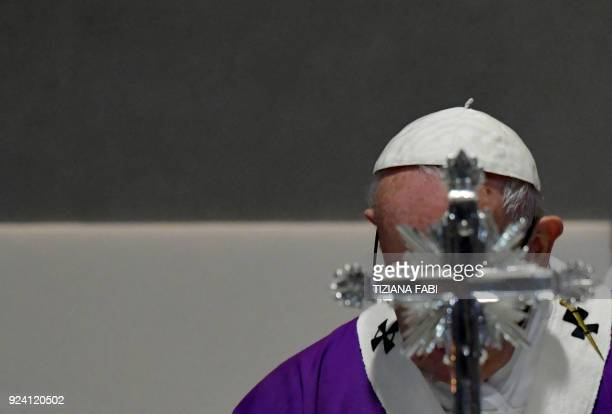 Pope Francis celebrates a mass during the pastoral visit in the parish of San Gelasio in the Ponte Mammolo neighborhood on the outskirts of Rome on...