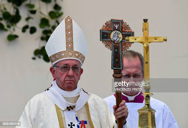 Pope Francis celebrates an openair mass at Lobitos Beach near the Chilean northern city of Iquique on January 18 2018 Pope Francis will close his...