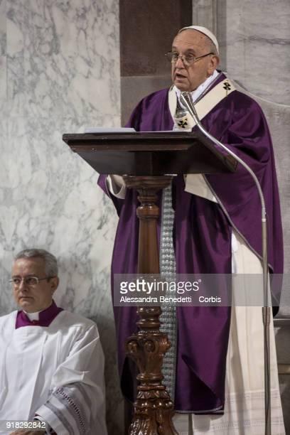Pope Francis celebrates Ash Wednesday Mass at Santa Sabina Basilica on February 14 2018 in Rome Italy