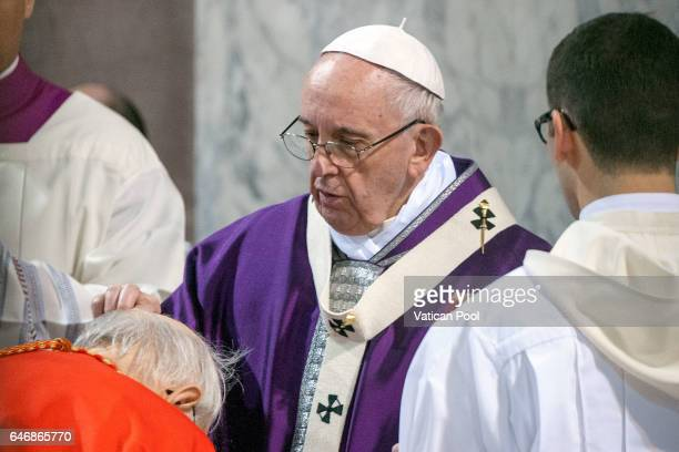 Pope Francis celebrates Ash Wednesday Mass at Santa Sabina Church on March 1 2017 in Rome Italy The Pontiff marked Ash Wednesday inviting the...